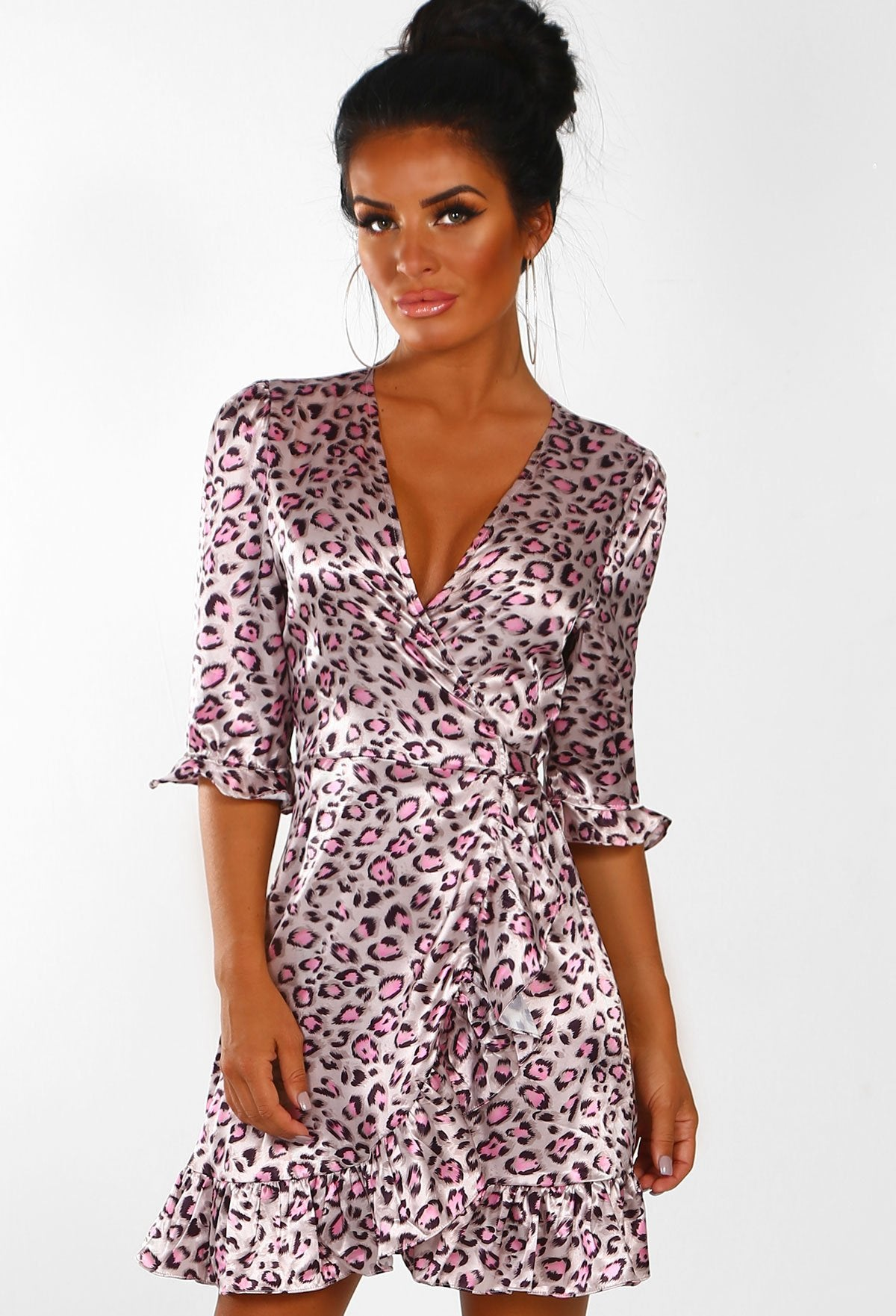 Wild Vibes Pink Animal Print Satin Frill Wrap Mini Dress – Pink ... 99cc8e3b1