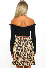 Wildchild Brown Leopard Print Tie Front Frill Mini Skirt