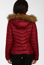 Winter Chill Burgundy Padded Faux Fur Hooded Coat