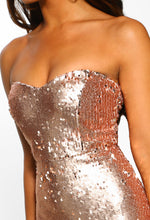 Rose Gold Sequin Bandeau Midi Dress - Close up View