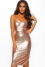 Rose Gold Sequin Bandeau Midi Dress - Front View