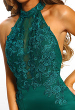 Green Embroidered Halterneck Maxi Dress - Close Up