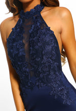 Worlds Apart Navy Embroidered Halterneck Maxi Dress