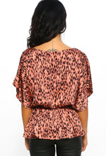 Pink Leopard Print Batwing Peplum Top - Back view