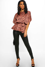 Pink Leopard Print Batwing Peplum Top - Front view
