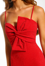 You Drive Me Knots Red Lurex Twist Front Midi Dress