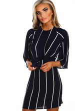 Stripe Tie Waist Mini Dress