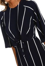 Navy and White Stripe Tie Waist Dress