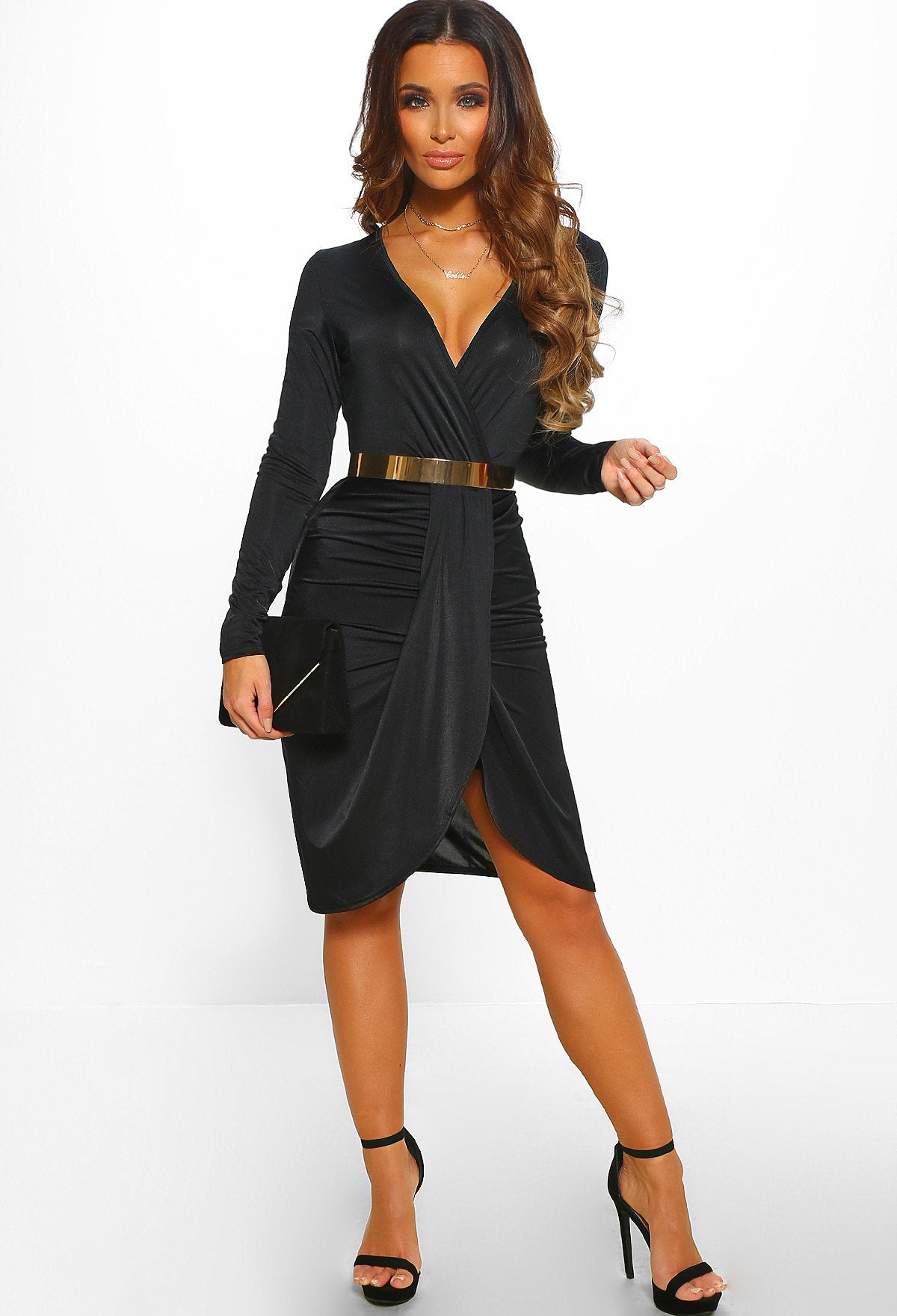 f89bb163892a Your Obsession Black Ruched Long Sleeve Wrap Midi Dress – Pink ...