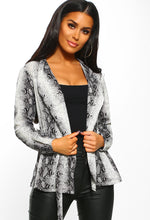 Your Poison Grey Snake Print Long Sleeve Wrap Blouse