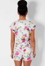 Oriental Off White Floral Wrap Playsuit