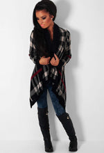 Autumn Solstice Black Tartan Waterfall Knit Cardigan