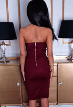 Jezebel Wine Red Ruched Side Midi Dress