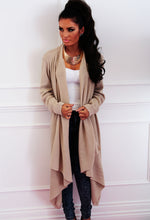 Brandy Snap Nude Draped Waterfall Cardigan