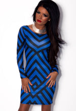 Ajaicco Blue Zig Zag Print Bodycon Mini Dress