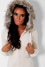 Snuggle Cream Faux Fur Trim Hooded South Beach Onesie