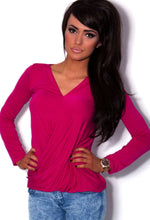 Yazoo Pink Stretch Long Sleeve Plunge Wrap Top