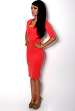 Cadence Coral Square Neck Bodycon Midi Dress