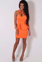 Pascal Orange Bodycon Peplum Dress