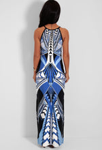 Rodear Multi Blue Abstract Print Maxi Dress