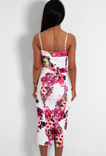 Romelia White and Red Floral Bodycon Midi Dress