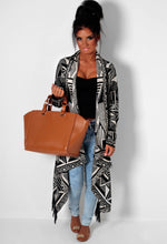 Mazatlan Cream and Black Aztec Drape Thick Knit Cardigan