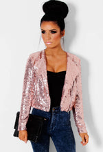 Shimmer Pink All Over Sequin Crop Jacket