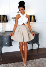 Fairyland Nude and White Embellished Skater Dress