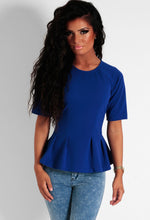Lagoon Blue Half Sleeve Pleated Peplum Top