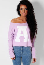 A Star Lilac Off Shoulder Print Sweater