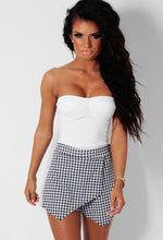 Etta Black and White Check Print Wrap Skort
