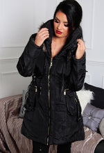 Cortina Black Fur and Leather Detail Parka Coat