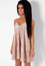 Kirsten Gold Sequin and Lace Halter Swing Dress