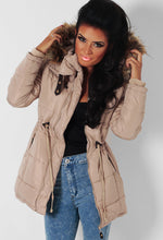 Butterscotch Beige Quilted Drawstring Parka Jacket
