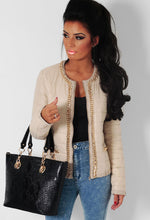 Bellina Cream and Gold Chain Quilted Jacket