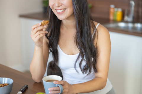 Woman eating mood-boosting foods