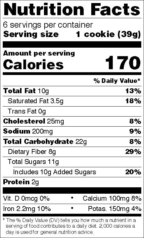 Nutritional facts - Ginger flax