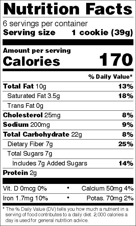 Nutritional facts - Oatmeal hemp