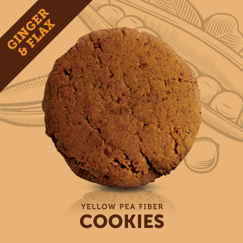 yellow pea fibre infused ginger flax cookie
