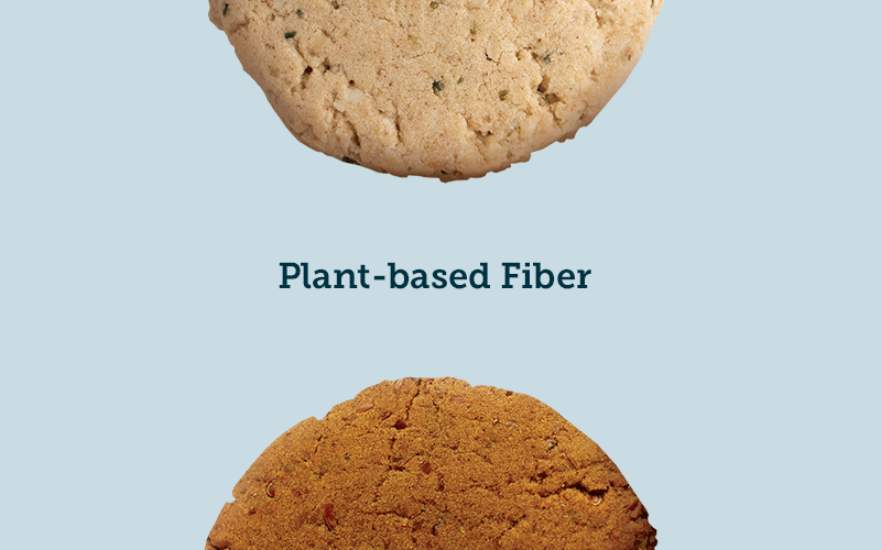 a flax ginger and oatmeal hemp cookie side by side with the text plant based pea fiber