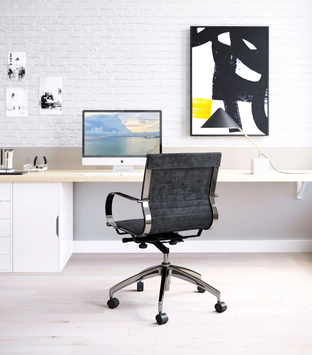Toba Office Chair Gray Velvet