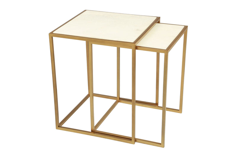 Oviedo Nesting Tables Stone & Brass