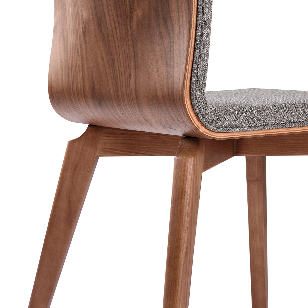 Hira Dining Chair in Walnut Finish and Gray Fabric - Set of 2