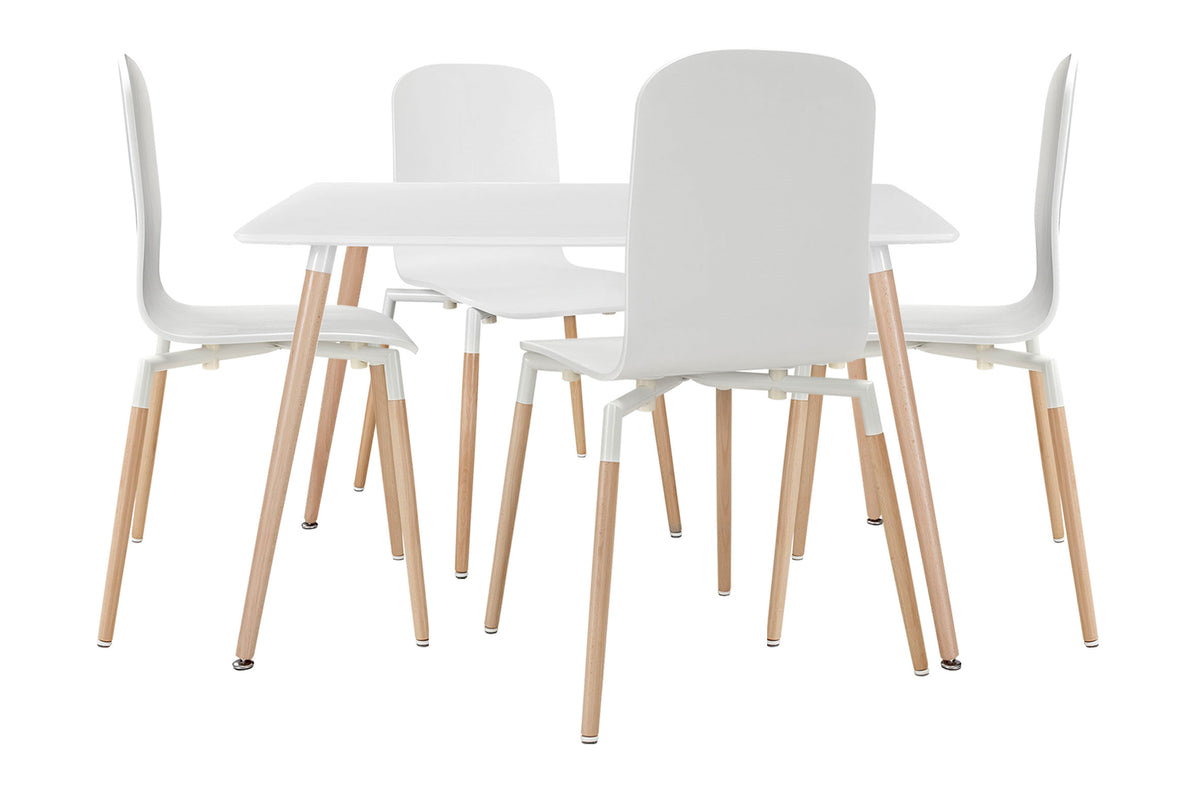 Lian Dining Set White - 5 items