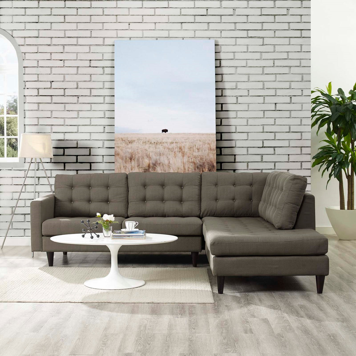 Tati 2 Piece Upholstered Sectional Granite