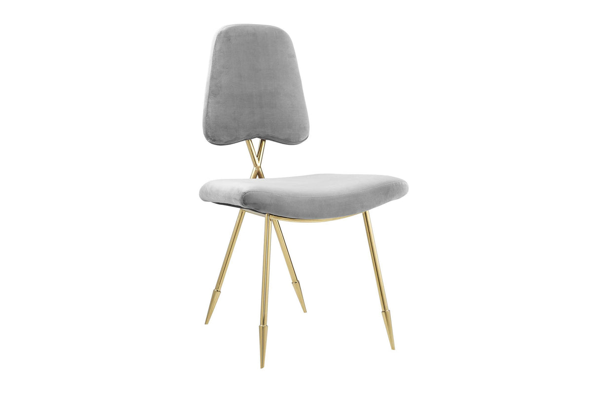 Kira Velvet Dining Chair Gray