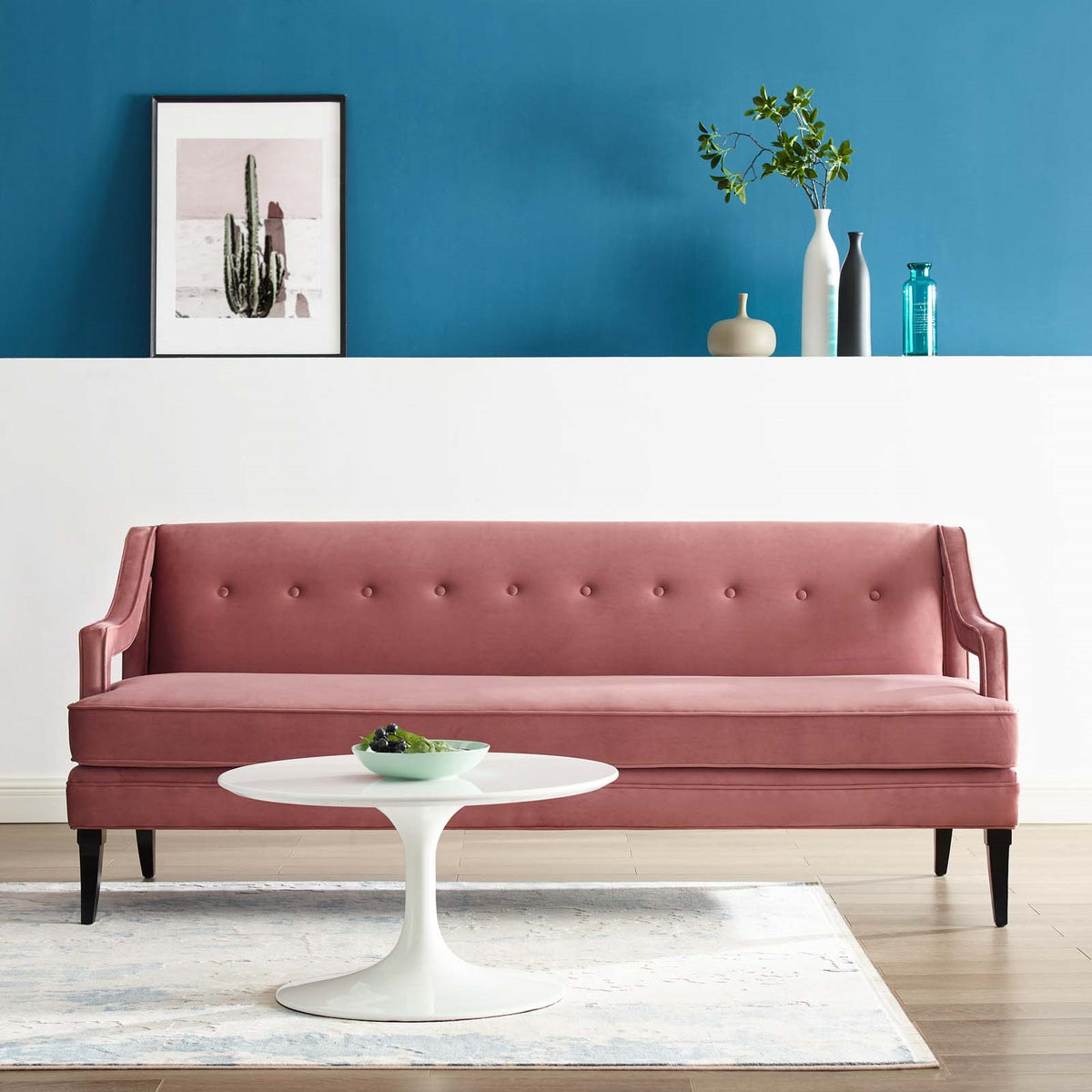 Olv Velvet Sofa Dusty Rose