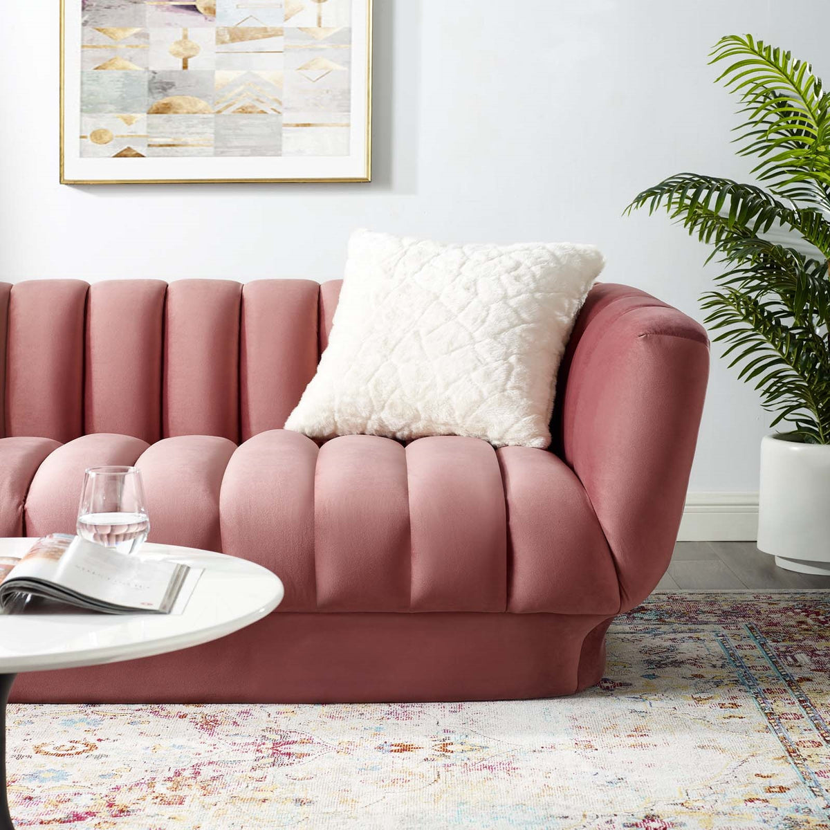 Domani Velvet Sofa Dusty Rose