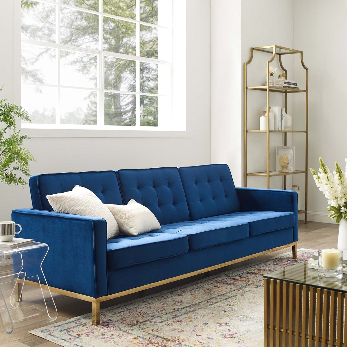 Asta Velvet Sofa Gold Navy