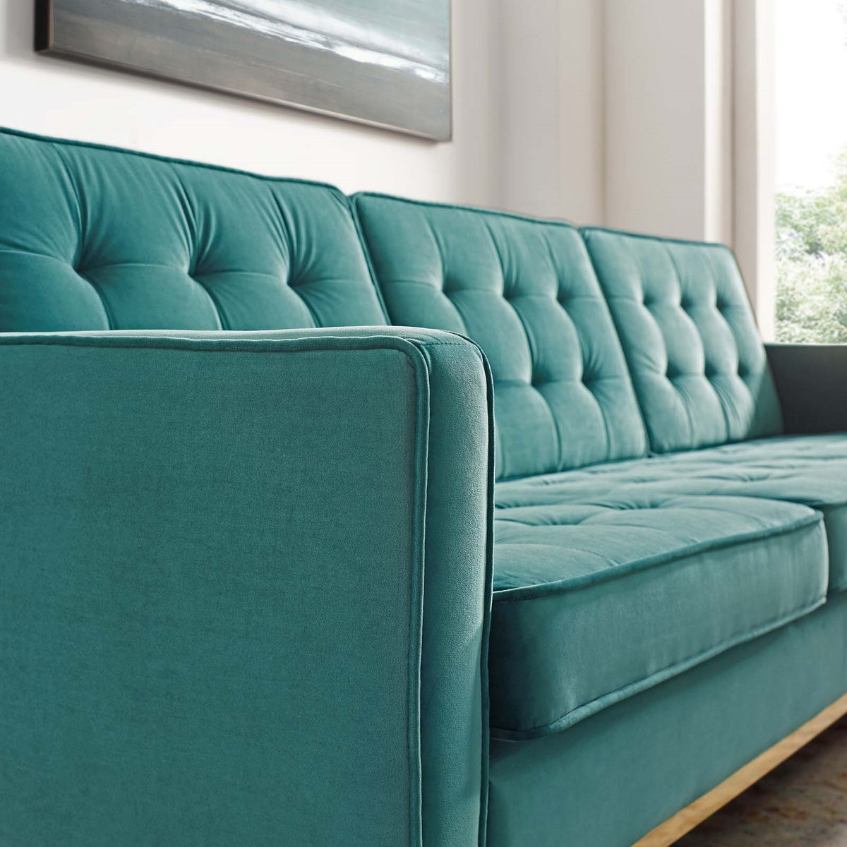 Asta Velvet Sofa Gold Teal